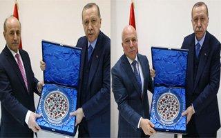 Erdoğan buz hokeyi sopası ile vuruş yaptı