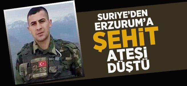 Suriye'den Erzurum'a Şehit Ateşi Düştü