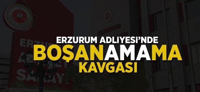 Erzurum Adliyesi'nde Boşanamama Kavgası!