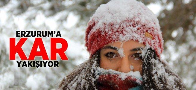 Erzurum'da kar yağışı hayatı olumsuz etkiliyor