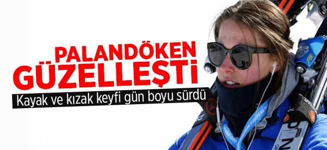 Palandöken'de düşe kalka kayak ve kızak keyfi