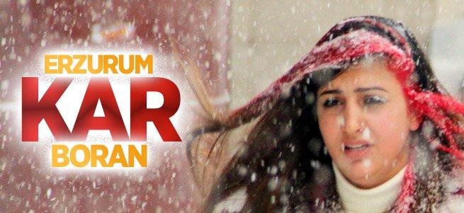 Erzurum'da kar ve tipi etkili oluyor