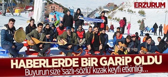 Erzurum'da 'sazlı sözlü' kızak keyfi