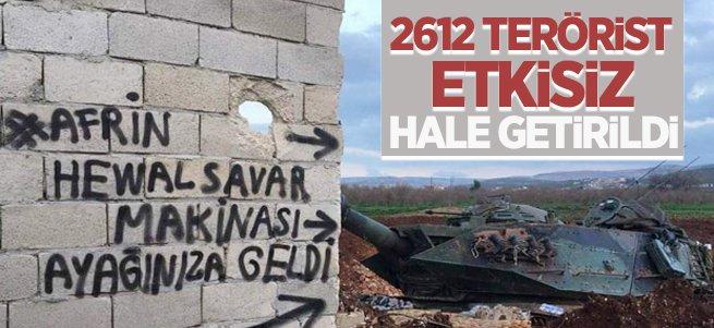 TSK: 2612 terörist etkisiz hale getirildi