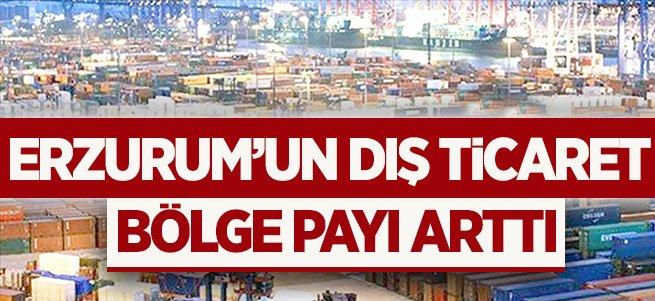 Erzurum'un dış ticaret bölge payı arttı