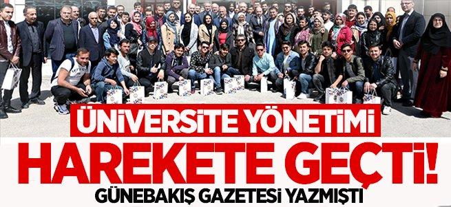 Üniversite yönetimi harekete geçti