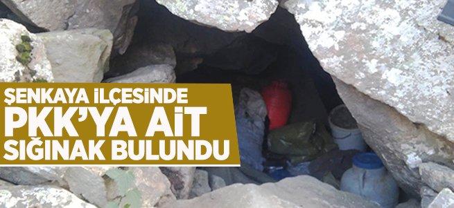 Şenkaya'da PKK'ya ait sığınak bulundu