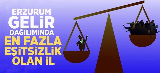 Erzurum Gelir Dağılımında En Fazla Eşitsizlik Olan İl