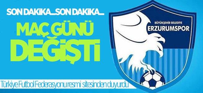 B.B Erzurumspor'un maç günü değişti