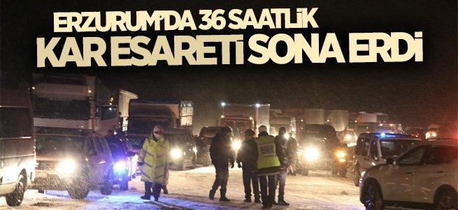 Erzurum'da 36 Saatlik Kar Esareti Sona Erdi
