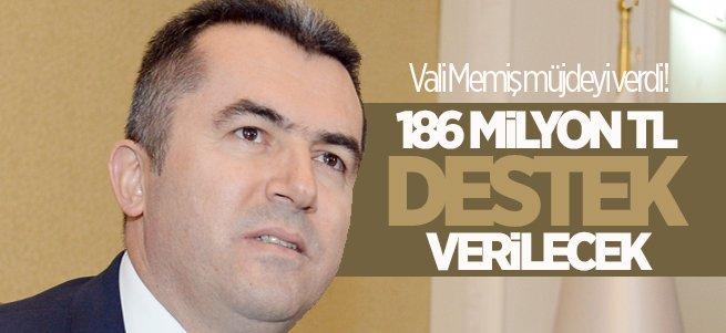 Vali Memiş: 186 Milyon TL Destek Verilecek