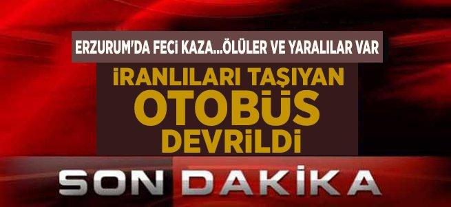 Erzurum'da otobüs devrildi! Ölü ve yaralılar var