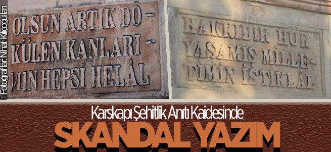 Anıt kaidesinde tepki çeken yazım hataları