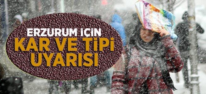 Erzurum ve Erzincan için kar yağışı uyarısı