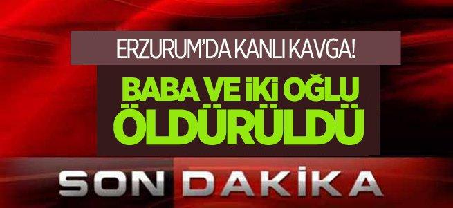 Erzurum'da baba ve iki oğlu öldürüldü