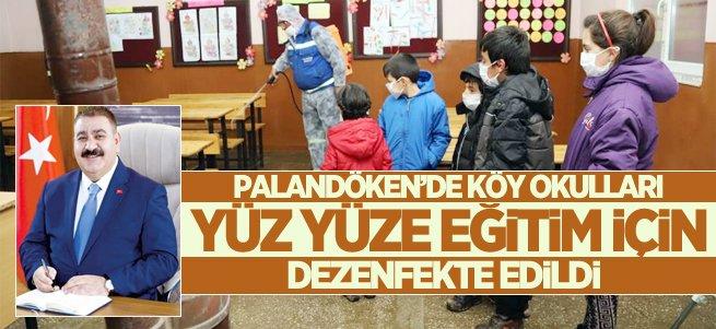 Palandöken belediyesi köy okullarını dezenfekte etti